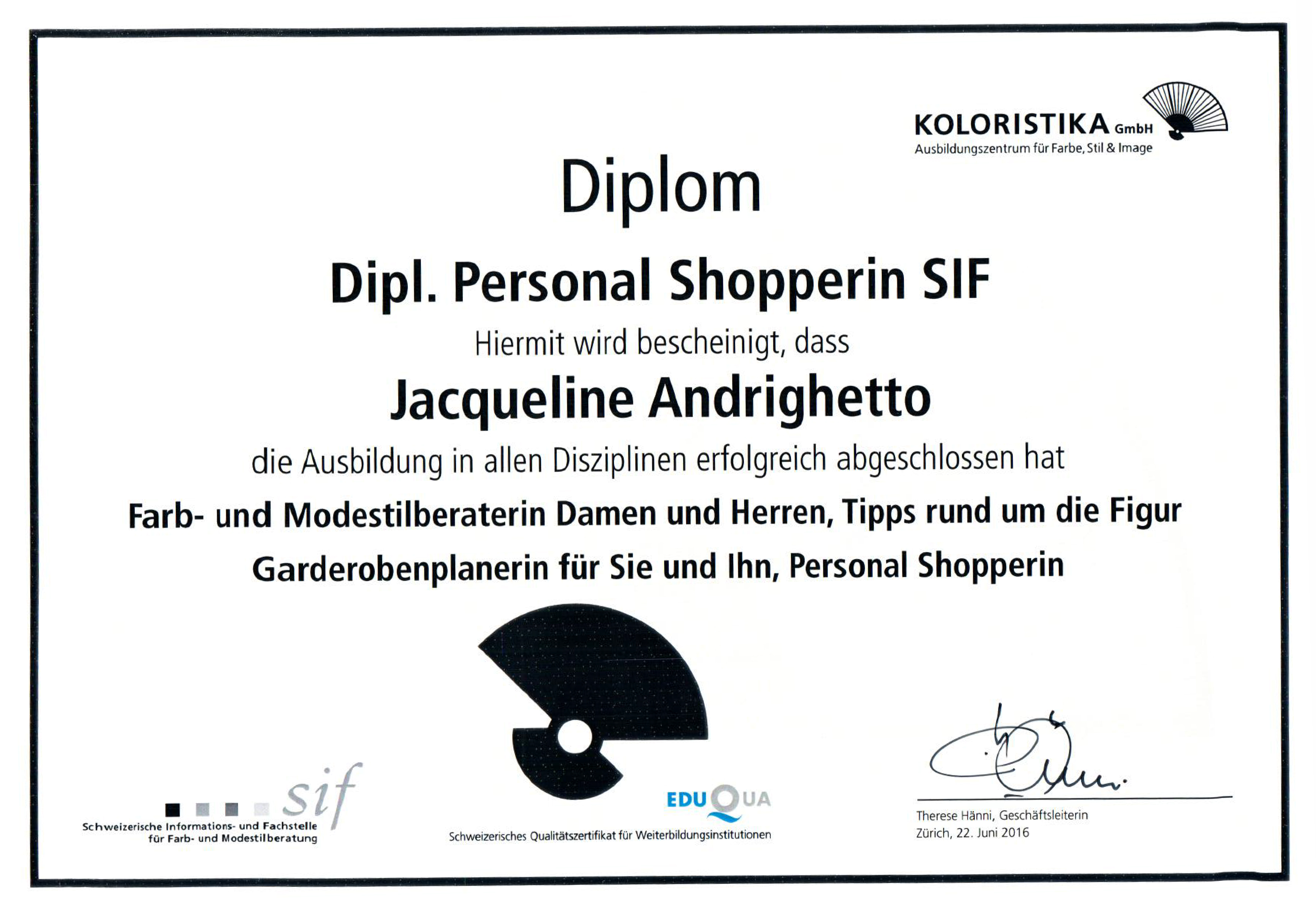 Dipl. Personal Shopperin SIF