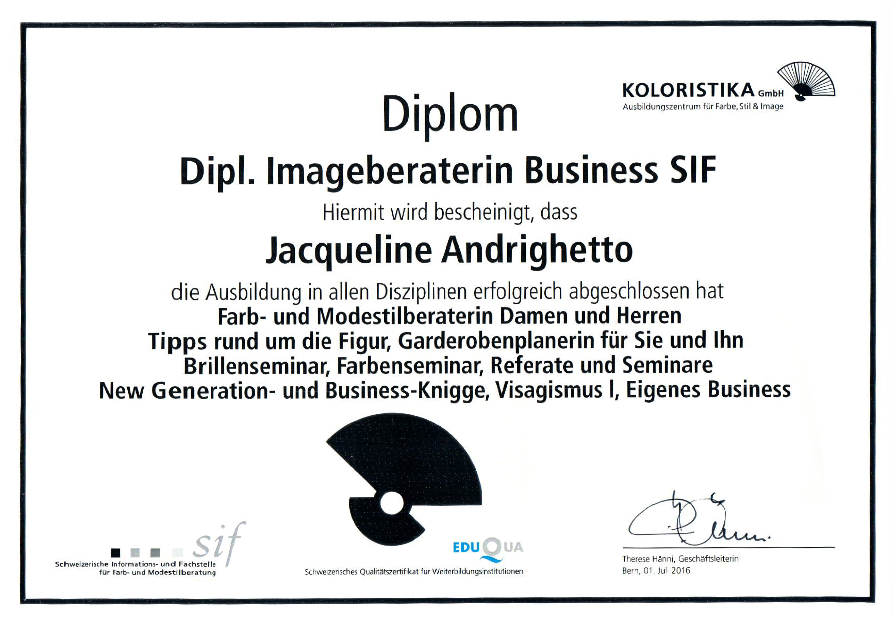 Dipl. Imageberaterin Business SIF